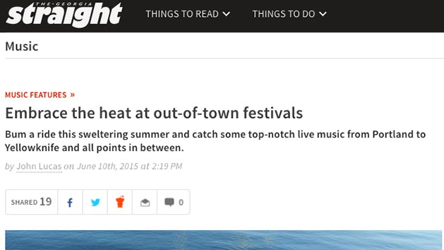 Ponderosa featured in the Georgia Straight's Summer in the City issue: Embrace the Heat at out-of-town festivals
