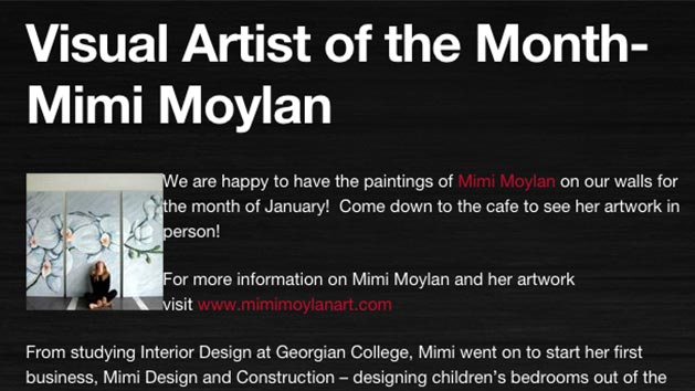 Visual Artist of the Month feature on Ponderosa's Maestro of the Arts, Mimi Moylan